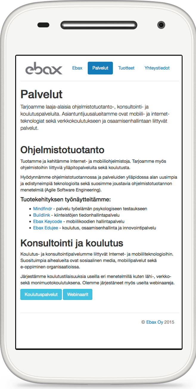 Mobile page example